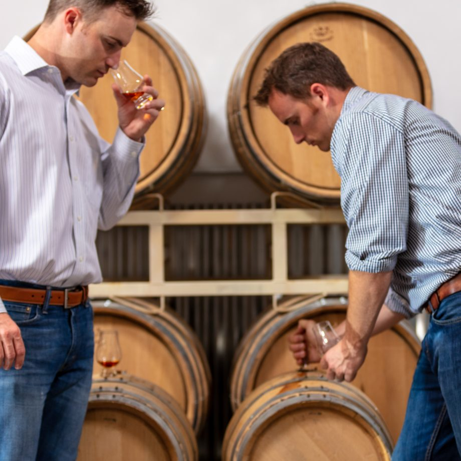 The two Sonoma Brothers owners testing their casks
